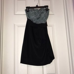 Turquoise Gray and Black Strapless Dress